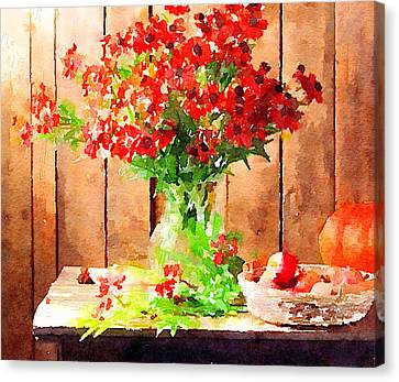Interior Still Life Canvas Print - Field Flowers by Yury Malkov