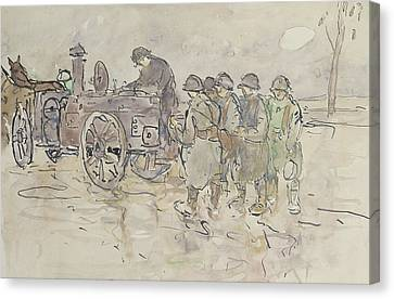 Canteen Canvas Print - Field Kitchen On The Road To Belfort by Louis Robert Antral