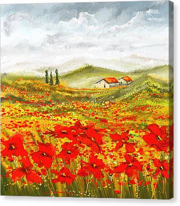 Red Green And Gold Abstracts Canvas Print - Field Of Dreams - Poppy Field Paintings by Lourry Legarde
