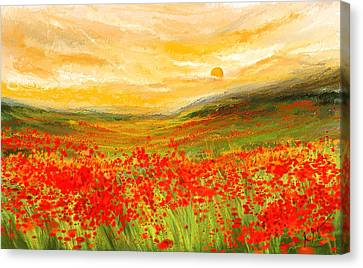 Field Of Poppies- Field Of Poppies Impressionist Painting Canvas Print by Lourry Legarde
