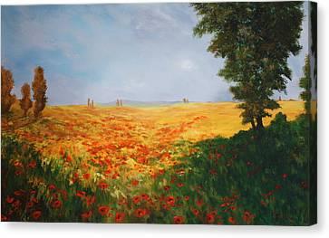 Field Of Poppies Canvas Print by Jean Walker