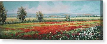 Field Of Poppies Canvas Print by Sorin Apostolescu