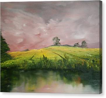 Canvas Print featuring the painting Field Of Rapeseed Oil by Jean Walker