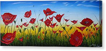 Field Of Red Poppies 4 Canvas Print by Portland Art Creations