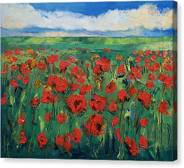 Field Of Red Poppies Canvas Print by Michael Creese