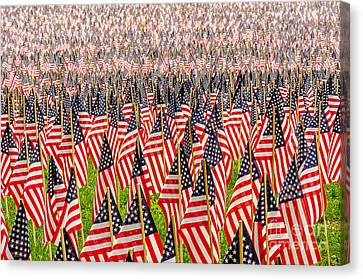 Field Of Us Flags Canvas Print by Mike Ste Marie