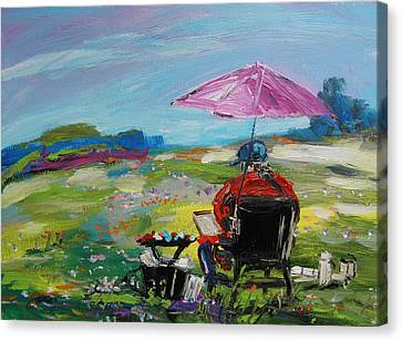 Canvas Print featuring the painting Field Painter  by John Williams