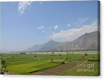 Canvas Print featuring the photograph Fields Mountains Sky And A River Swat Valley Pakistan by Imran Ahmed