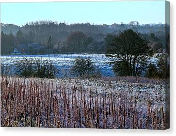 Fields Of Frost Canvas Print by Karen Grist
