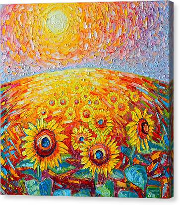 Fields Of Gold - Abstract Landscape With Sunflowers In Sunrise Canvas Print by Ana Maria Edulescu