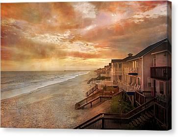 Fiery Calm Coastal Sunset Canvas Print by Betsy Knapp