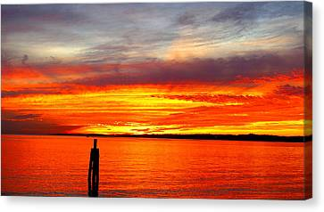 Fiery Fall Sunset Canvas Print by Stephen Melcher