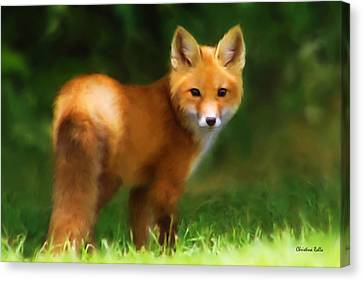 Canvas Print featuring the mixed media Fiery Fox by Christina Rollo