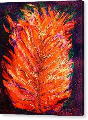 Fiery Leaf Canvas Print by Anne-Elizabeth Whiteway