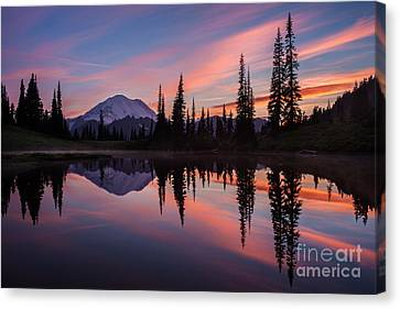 Fiery Rainier Sunset Canvas Print