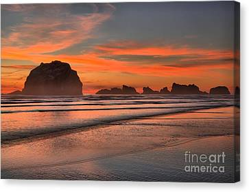 Fiery Ripples In The Surf Canvas Print by Adam Jewell