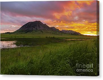 Fiery Sky Over Bear Butte Canvas Print