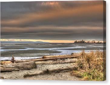 Fiery Sky Over The Salish Sea Canvas Print by Randy Hall