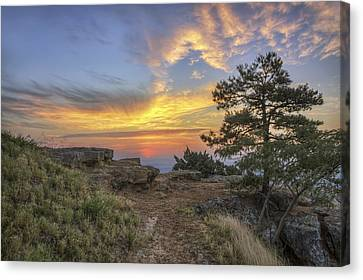 Canvas Print featuring the photograph Fiery Sunrise From Atop Mt. Nebo - Arkansas by Jason Politte
