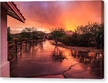 Canvas Print featuring the photograph Fiery Sunset by Beverly Parks