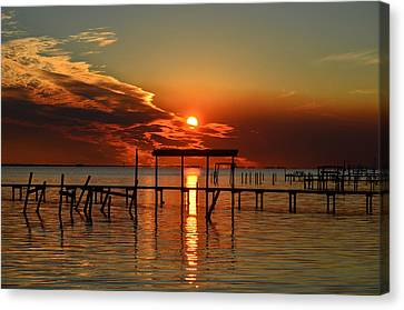 Canvas Print featuring the photograph Fiery Sunset Colors Over Santa Rosa Sound by Jeff at JSJ Photography