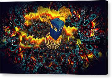 Fiery Time Vortex Canvas Print by Digital Art Cafe