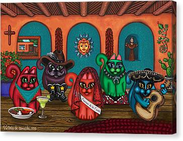 Fiesta Cats II Canvas Print by Victoria De Almeida
