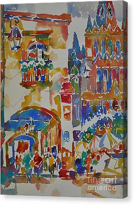 Canvas Print featuring the painting Fiesta El Jardin by Roger Parent
