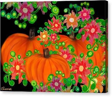 Fiesta Pumpkins Canvas Print by Christine Fournier