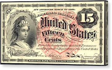 Fifteen Cents 4th Issue U.s. Fractional Currency Canvas Print by Lanjee Chee