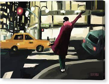 Fifth Avenue Taxi New York City Canvas Print by Beverly Brown