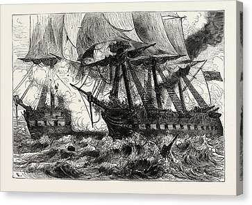 Fight Between The Chesapeake And The Shannon, Off Boston Canvas Print by American School
