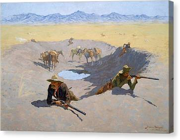 Fight For The Waterhole Canvas Print by Frederic Remington