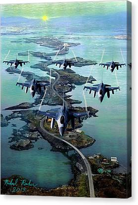 Fighter Jet Squadron  Canvas Print by Michael Rucker