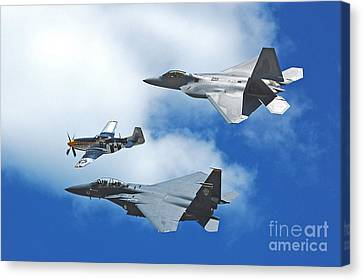Fighter Jets Old And New Canvas Print by Stephen Flint