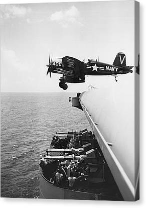 Fighter Takes Off From Carrier Canvas Print by Underwood Archives
