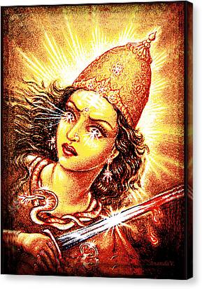 Canvas Print featuring the mixed media Fighting Goddess by Ananda Vdovic