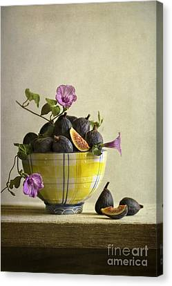 Ceramic Bowl Canvas Print - Figs In Yellow Bowl by Elena Nosyreva