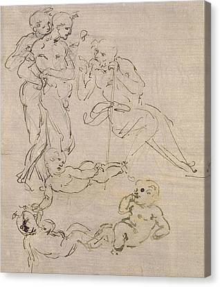 Figural Study For The Adoration Of The Magi Canvas Print by Leonardo Da Vinci