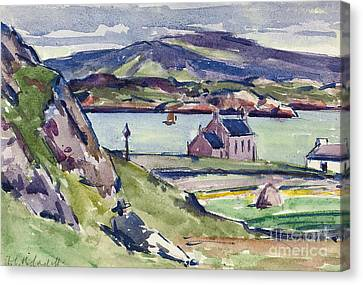 European Artists Canvas Print - Figure And Kirk   Iona by Francis Campbell Boileau Cadell