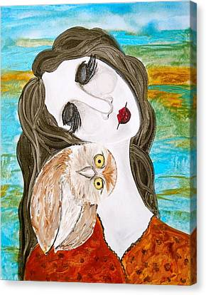 Woman And Owl Canvas Print - Figure And Owl Painting - Wise Beyond My Years by Laura Carter