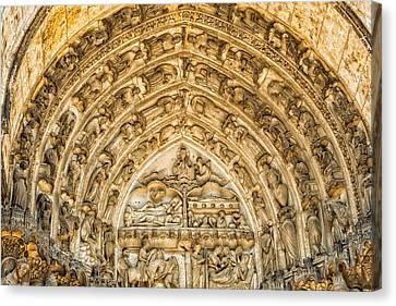 Gothic Archivolt At Chartres Canvas Print by Jurgen Lorenzen