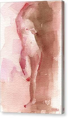 Figure Red Brown Magenta Watercolor Painting Canvas Print by Beverly Brown Prints