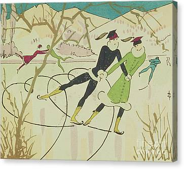Figure Skating  Christmas Card Canvas Print by American School