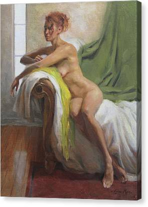 Figure With Chartreuse Scarf Canvas Print by Anna Rose Bain