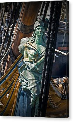 Figurehead On The Bow Of The Sailing Ship The Star Of India Canvas Print by Randall Nyhof
