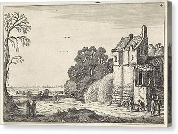 Country Roads Canvas Print - Figures At A House And Covered Wagons On A Country Road by Jan Van De Velde (ii)