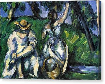 Figures By Cezanne Canvas Print by John Peter
