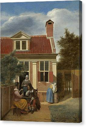 Figures In A Courtyard Behind A House Canvas Print