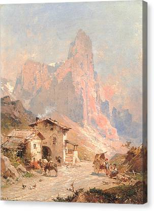 Figures In A Village In The Dolomites Canvas Print by Franz Richard Unterberger